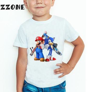 Children Sonic The Hedgehog With Mario Cartoon Funny T shirt Boys Girls Super Mario Bros Summer Tops Kids Baby Clothes,HKP5135