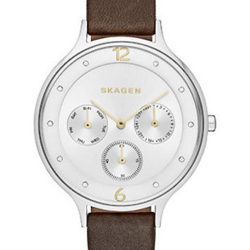 Skagen Ladies Anita Calendar Watch - Two-Tone - Brown Leather Strap