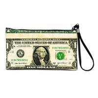 $1 dollar bill cash money green white p Clutch Bag