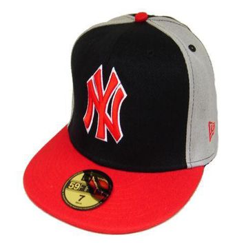 ESBON New York Yankees New Era MLB Authentic Collection 59FIFTY Cap Black-Red-Grey