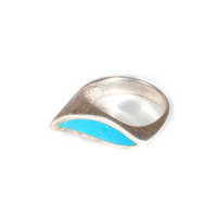Vintage Turquoise Wave 925 Ring
