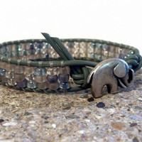 Beach Going Good Luck Elephant, Leather wrap bracelet, friendship stack bracelet, Chan Luu Inspired, shabby chic, PZW039