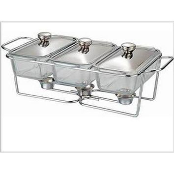 Free Shipping - Three sink glass buffet dish chafing pot catering pot