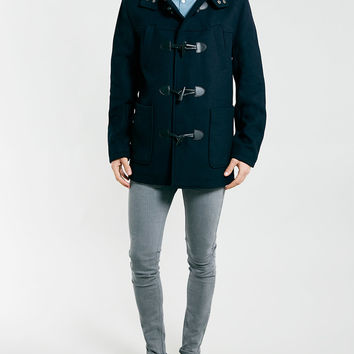 NAVY WOOL MIX DUFFLE COAT - New This Week from TOPMAN | OUTERWEAR