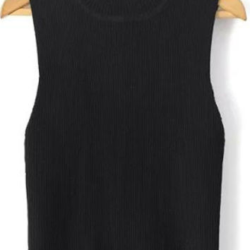 Black Sleeveless Crop Top