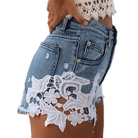 2017 summer hot shorts lace denim shorts women pockets high waist denim ripped white shorts womens jean shorts plus size
