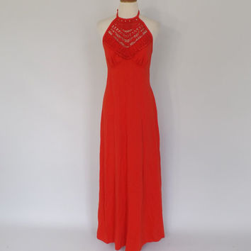 Vintage 1960s 70s Blood Orange Red Dress Crochet Lace Maxi Dress Boho Halter Top Sundress Folk Hippie 1970s Prom Gown Gypsy Long Dress