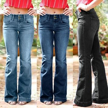 Women Flared Jeans New Plus Size Sexy Button High Waist Bell Bottom Denim Pants Autumn Winter Fashion Casual Elegant Trousers #D