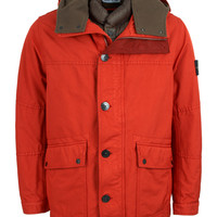 Stone Island | David-TC Double Lined Felt Hood Parka (Red) | Six Whiting Street