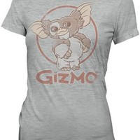 Gremlins Gizmo Distressed Image Heather Gray Juniors T-shirt  - Gremlins - | TV Store Online