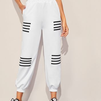 Striped Panel Pocket Side Sports Pants