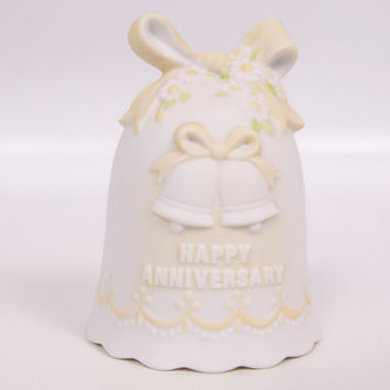 Vintage Happy Anniversary Lefton Bell The Christopher Collection Hand Painted Pastel Yellow Bow and Daises Porcelain Bisque