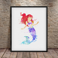 Disney Ariel Little Mermaid Watercolor Poster Print, Disney Wall Art, Watercolor Painting, Kids Decor, Nursery Decor, Disney Wall Decor - a2