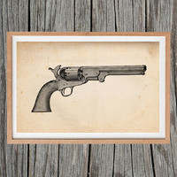 Vintage Revolver Print Gun Poster Antique Wall Art