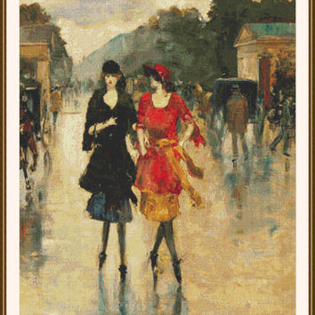 Two Girls Walking Along a Street - Counted cross stitch pattern in PDF format
