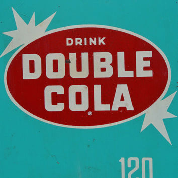 Double Cola Vintage 1940s Tin Sign Thermometer Turquoise and Red. Not Repro!