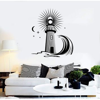 Vinyl Wall Decal Lighthouse Wave Sea Ocean Style Moon Stickers Unique Gift (1398ig)