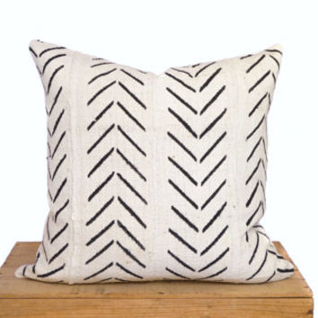 20 Inch White African Mud Cloth Pillow Cover Mudcloth