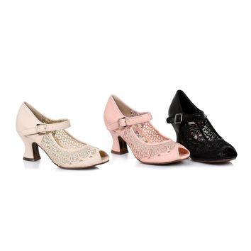 Ellie Shoes E-BP253 Paise 2.5 inch Heel Women's Lace Mary Jane Peep Toe Heel
