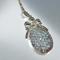 French Antique Silver Locket Style Saphiret Necklace ON HOLD