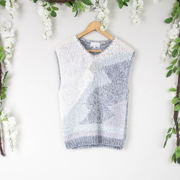 Vintage Sleeveless Gray Knit Blouse