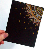 Black Note Card Gift Pack - Christmas Gift Set - Set of 5 cards - Blank White on the inside - Envelopes included