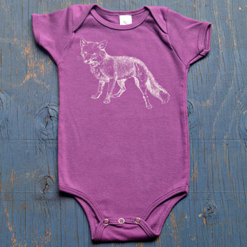 Girls/Unisex FOX Baby Onesuit - Organic Cotton Ultraviolet Purple // Baby Girl Onesuit // Super Soft Fox Onesuit for Baby Girl or Boy