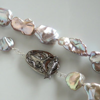 """Lavender Baroque Pearl Necklace - Multicolor Silver Keshi Pearls – Large Pearl Necklace - Pondslime Pearls with Octopus Artisan Clasp- 19.5"""""""