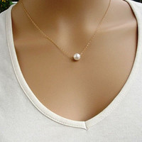 Attractive Women Fashion Simple Imitate Pearl Bib Choker Statement Collar Necklace Jewelry High Quality AP 28