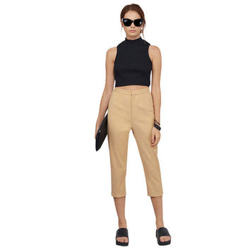 Adjustable Waist Belt Crop Pencil Pants