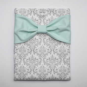 MacBook Pro Air Case / Laptop Sleeve - Gray and White Damask with Mint Bow - Double Padded
