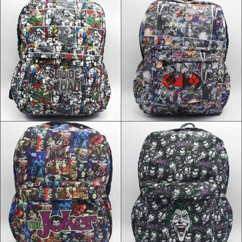 DC Comics Batman Suicide Squad Harley Quinn Joker Backpack student book bag Teenagers canvas Shoulder Bag 5 style