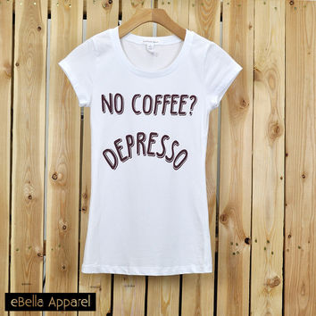 No Coffee Depresso - Women's Basic White Short Sleeve, Graphic Print Tee