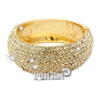 BLING! Crystal & Rhinestone Goldtone Metal Hinged Bangle by Jersey Bling (Goldtone)