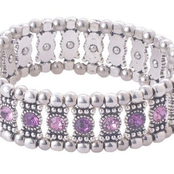 Purple Crystal Stretch Bracelet