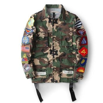 Men Fashion Embroidery Military Camo Jacket