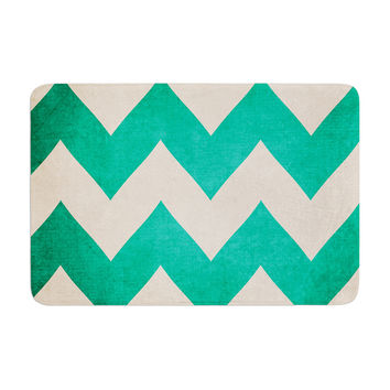 "Catherine McDonald ""2013"" Teal Chevron Memory Foam Bath Mat"