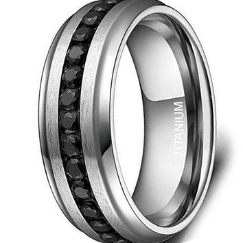 CERTIFIED 7mm Titanium Eternity Ring Channel Set Black CZ Wedding Band