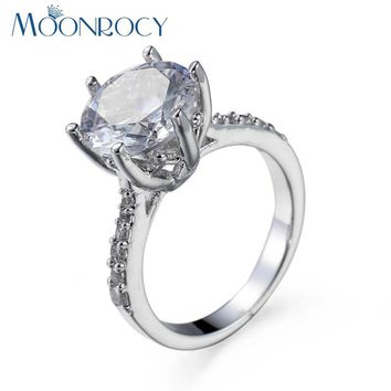 MOONROCY Free Shipping Fashion Silver Color White Blue Green Cubic Zirconia Promise Wedding Crystal Rings for Women Girls
