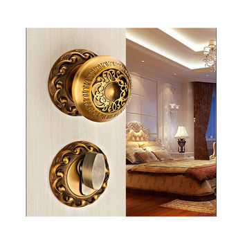 European Yellow Bronze Spherical Carved Lock Double Mute Bedroom Door Lock Bathroom Indoor Lock Hardware Wooden Golden Door Lock