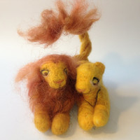 Needle felted Lions Miniature figurines,