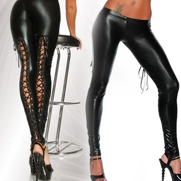 Women Sexy Like Lace Black Faux Leather Gothic Latex Legging