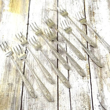 Sterling Silver Cocktail Forks, Set of 10, International Silver
