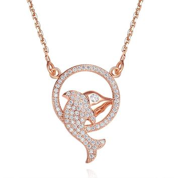 Fancy Magical Eternity Circle Dolphin Lucky Charm Gold-Tone White Sparkling Crystals Necklace