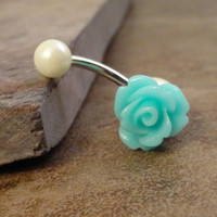 Aqua Blue Rose Flower Belly Button Jewelry