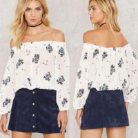 Fashion Flower Print Off Shoulder Long Sleeve WomenT-shirt Tops