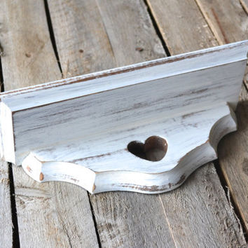 Small Vintage Distressed White Shabby Chic Shelf with Heart Cutout