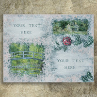 "personalized SHABBY CHIC decor Decoupage textured Painting on canvas art Impressionism Monet Garden Pond Water lily Giverny KSAVERA 12""x16"""
