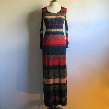 Ziggy Stardust Inspired 70s Lurex Dress Ian Peters Navy Blue Red Metallic Knit 1970s Designer Maxi Dress