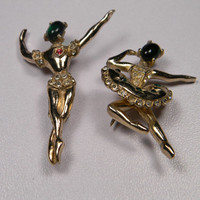Vintage Ballet Dancer Brooch Set, Figurals, Faux Stone Face with Rhinestones
